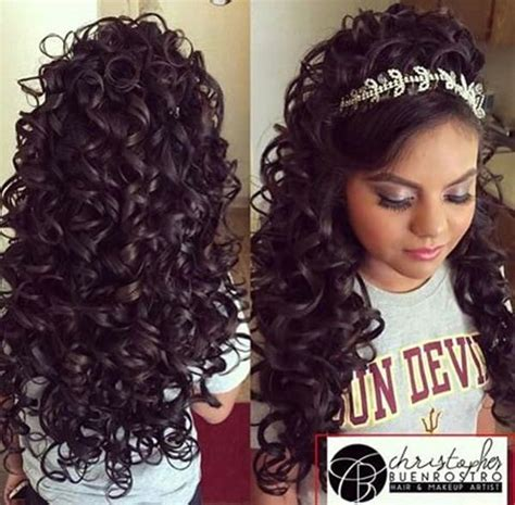 Quinceanera Hairstyles For Long Hair With Curls And Tiara | 48 of the best quinceanera hairstyles that will make you