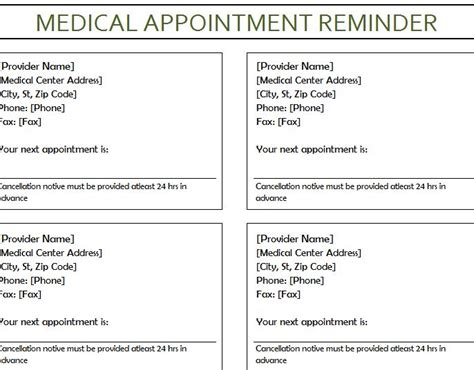 appointment reminder card template appointment reminder my excel templates
