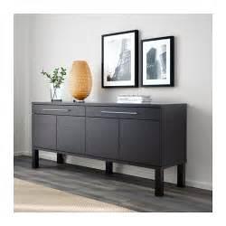 Kitchen Buffet Storage Cabinet - bjursta sideboard brown black 155x68 cm ikea