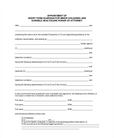 guardianship forms 9 free pdf word free premium