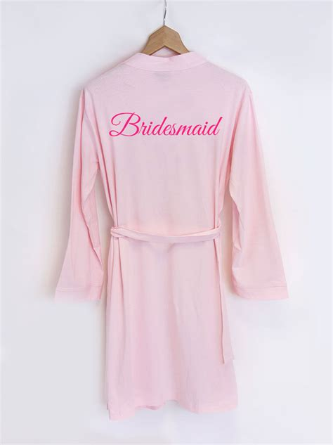 Bridesmaid Dressing Gowns by Personalised Bridesmaid Bridal Pink Dressing Gown