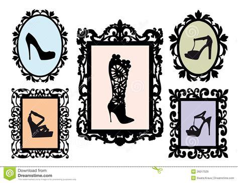 Frame Foto Sandal shoe silhouettes in antique frames vector set stock