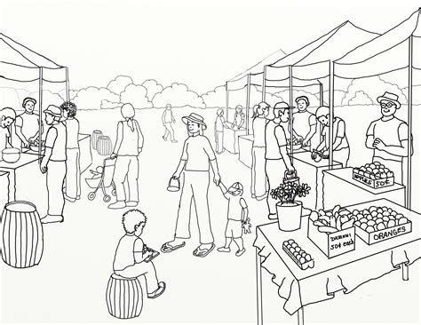 Outline Picture Of Market by Free Coloring Pages Of Market