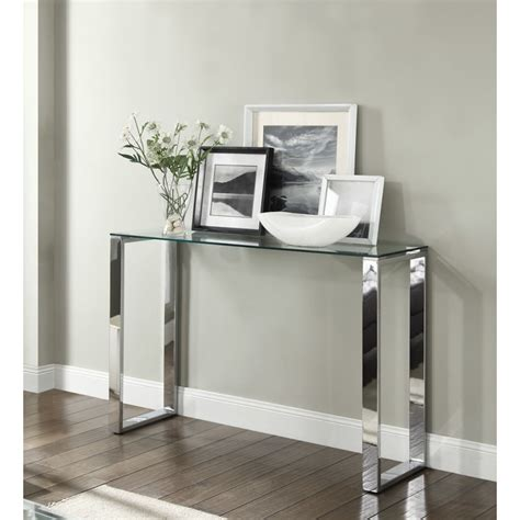 Hallway Console Table Signature Console Hallway Table Glass Top Chrome Stand