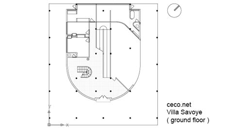villa savoye floor plan architecture drawing in autocad interior design