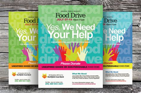 Food Drive Flyer Templates Flyer Templates On Creative Market Drive Flyer Template