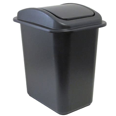 united solutions 28 qt black wastebasket with universal