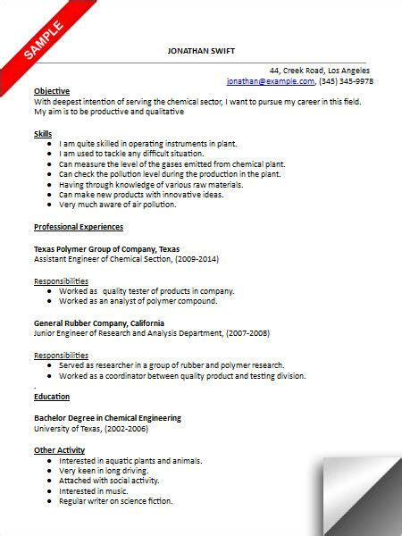 Chemical Engineer Resume Exles by Chemical Engineer Resume Sle Resume Exles