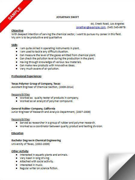 Chemical Engineering Resume by Chemical Engineer Resume Sle Resume Exles