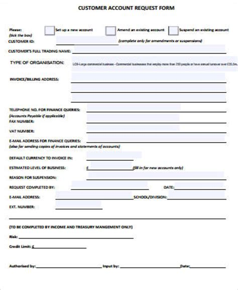 account request form template sle customer request form 11 exles in word pdf