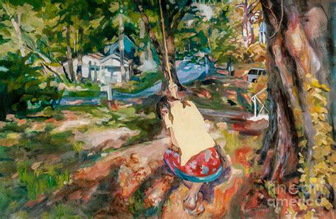 tree swing painting tree swing painting by mia merlin