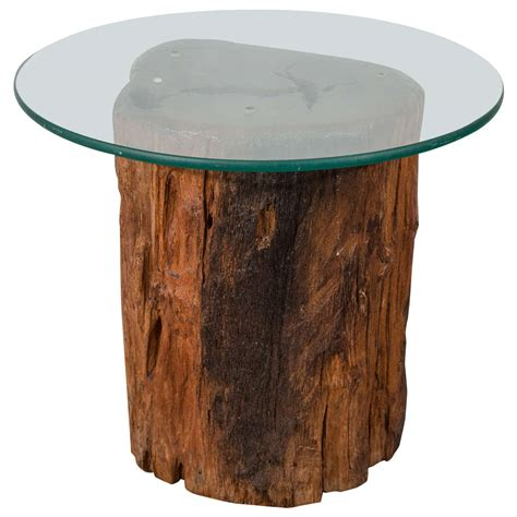 Trunk Side Table Antique Petrified Tree Trunk Side Table With Glass Top At 1stdibs