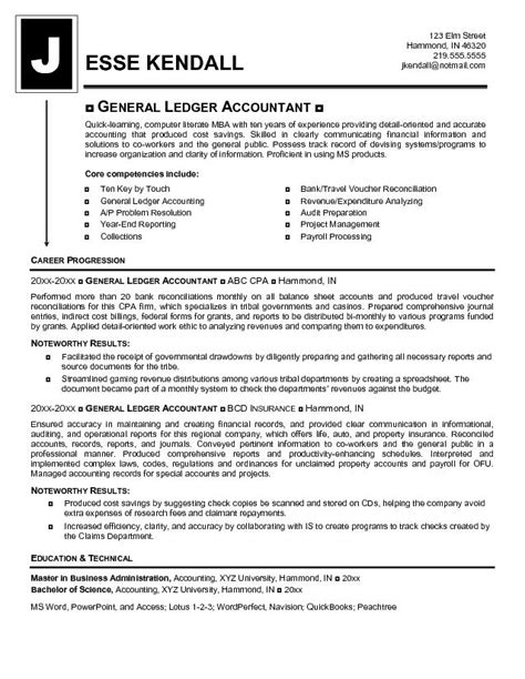 free general ledger accountant resume exle