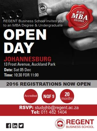 Regent Business School Mba by Mba Degree Undergraduate Open Day Johannesburg