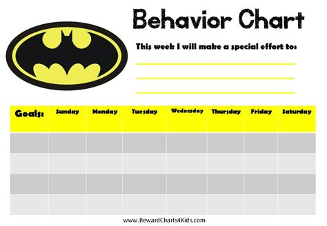 Behavior Chart Template batman behavior charts