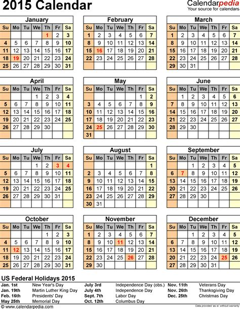 free printable calendar templates 2015 2015 calendar with federal holidays excel pdf word templates