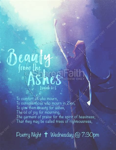 beauty   ashes church flyer template template