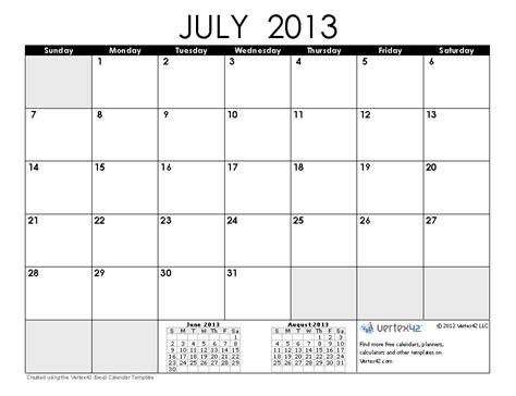 Calendar July 2013 Free Printable Calendar Free Printable Calendar July