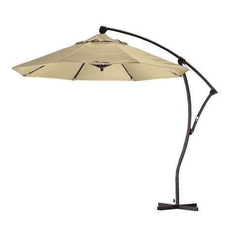 Offset Patio Umbrella Cover California Umbrella 9 Ft Cantilever Aluminum Deluxe Crank Lift Patio Umbrella In Antique Beige
