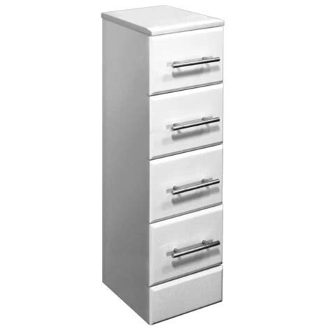 gloss white bathroom furniture storage 4 drawer unit 300 w