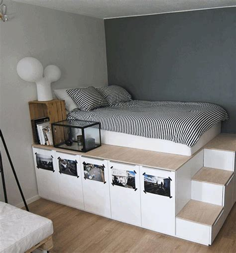 ideas for small bedroom black striped white bedsheet elevated platform bed with staircase brown wooden box transparent