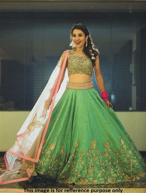 Ethnic Home Decor Online Shopping India by Buy Green Georgette Embroidered Semi Stitched Lehenga