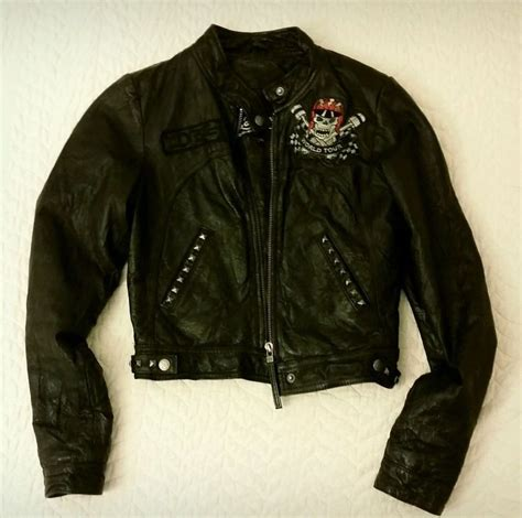 Jaket Biker Leather Coklat Hoodie 64 womens black ed hardy leather moto jacket sz xs edhardy