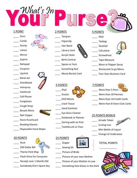 printable bridal shower what s in your purse game large whats in your purse bridal shower game you