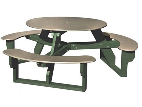 round picnic table with attached benches recycled plastic round picnic table three attached benches portable by park tables