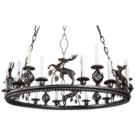 Custom Made Chandelier Large Custom Made Leaping Stag Chandelier For Sale At 1stdibs