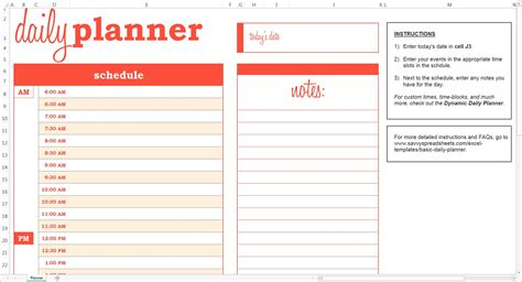 Excel Template Calendar Planner daily schedule planner template business