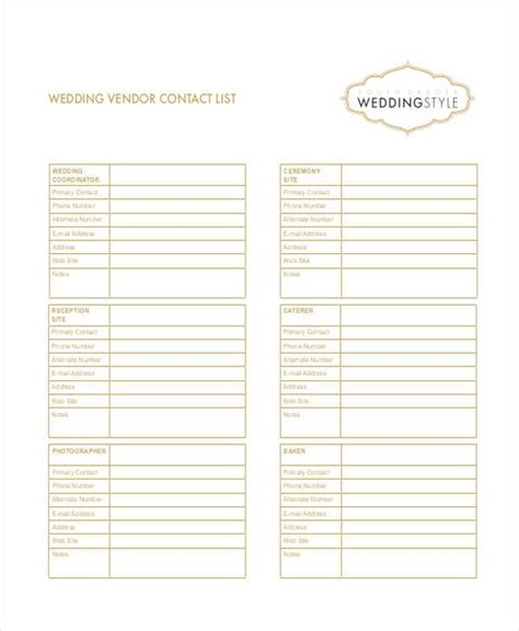 wedding vendor checklist template wedding vendor contact list excel driverlayer search engine