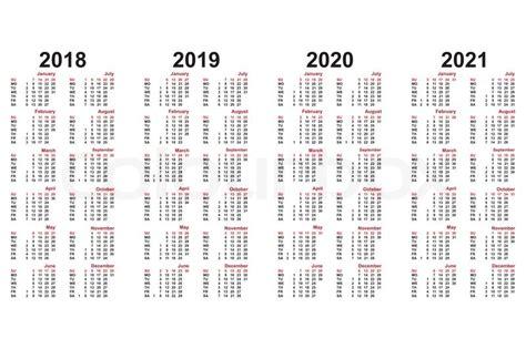 Kalender Med Helligdage 2018 Kalender 2018 Bis 2021 Jahrelang Stock Vektor Colourbox
