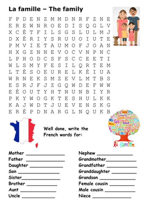 free printable word searches in french the family french word search by sfy773 teaching