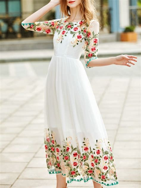 Flowers Embroidery Dress shop white gauze flowers embroidered dress shein