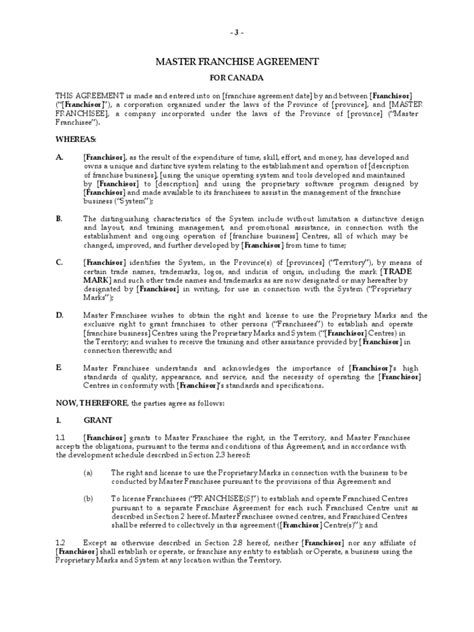 master franchise agreement template franchise agreement template 6 free templates in pdf