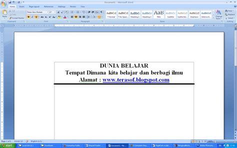 tutorial membuat garis kop surat cara membuat garis header di word 2007 cara membuat garis