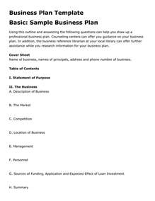 free simple business plan template free printable business plan template form generic