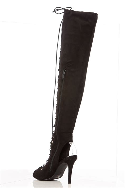 open toe thigh high lace up boots boot yc