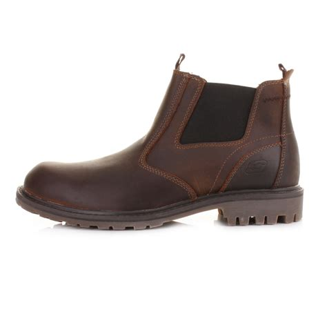 mens skechers roven united brown leather chelsea
