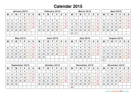 printable daily calendar 2015 uk 2015 yearly calendar template calendar template 2016