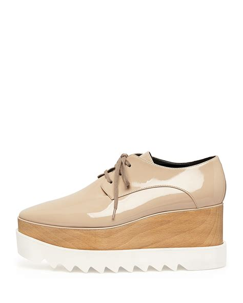 oxford wedge shoes stella mccartney leather platform oxford in beige