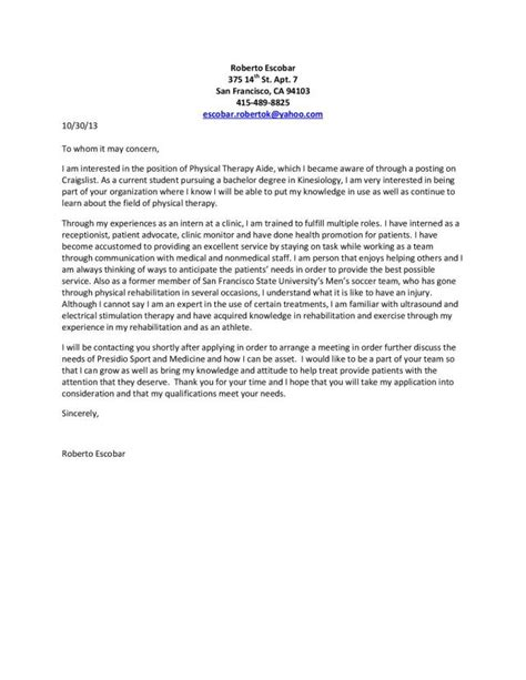 physiotherapist cover letter 9543