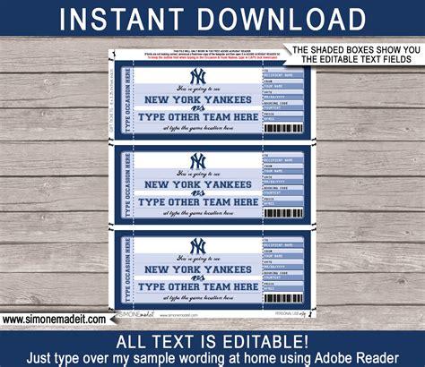 york yankees game ticket gift voucher printable