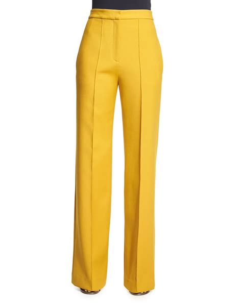 19213 Yellow Wide Leg Trousers adam lippes wide leg stretch wool in yellow lyst