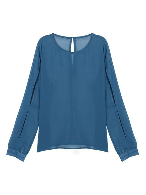 Sleeve Chiffon Blouse navy slit sleeve chiffon blouse choies