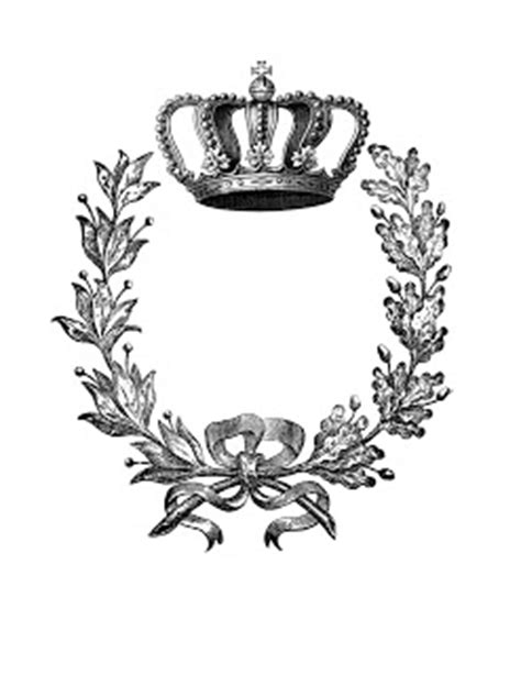 Iron on Transfer - Wreath with Crown - 2! - The Graphics Fairy