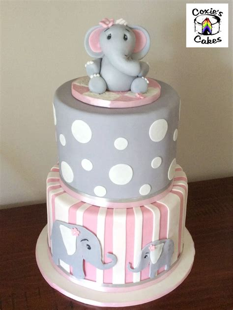 Baby Shower Cake Elephant by Pink And Grey Elephant Baby Shower Cake Www Imgkid