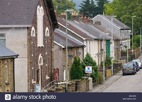 houses to buy in south wales typical south wales valley street at crosskeys gwent with house for stock photo