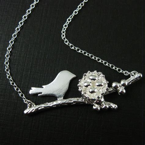 sterling silver bird family necklace personalized mothers necklace and nest with eggs